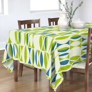 Tablecloth Mid Century Modern Mod Blue Vintage Abstract Cotton Sateen