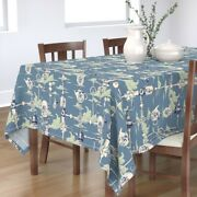 Tablecloth Steampunk Blue Cloud And Light Fixture Vintage Toile Cotton Sateen