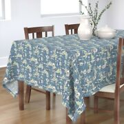 Tablecloth Toile Vintage Steampunk Blue Green Clouds Navy Cotton Sateen