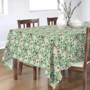 Tablecloth Vintage Mistletoe Holiday Blue Red White Christmas Cotton Sateen