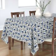 Tablecloth Retro Blue Crossstitch Black And Trees Vintage Modern Cotton Sateen