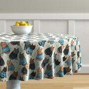 Round Tablecloth Cat Sweater Kitty Cats Christmas Cotton Sateen
