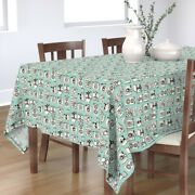 Tablecloth Cameras Turquoise Vintage Camera Blue Toy Cotton Sateen