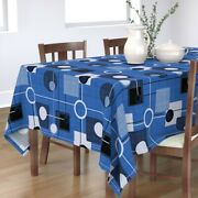 Tablecloth Modern Orbs And Squares Retro Blue White Vintage Atomic Cotton Sateen