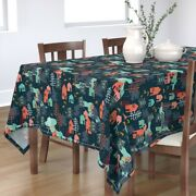Tablecloth Christmas Winter Holiday Woodland Trees Family Snow Cotton Sateen