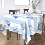 Tablecloth Blue Rose Stripes Bouquet Floral Vintage Style And Cotton Sateen