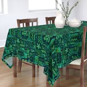Tablecloth Turquoise Tiki Green Blue Vintage Tropical Floral Cotton Sateen