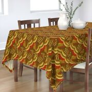 Tablecloth Art Deco Retro Style Red Gold 1920s Vintage Abstract Cotton Sateen