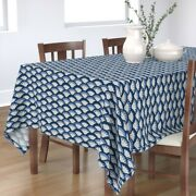 Tablecloth Mosaic Scallop Blue And White Scales Vintage Art Deco Cotton Sateen