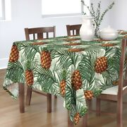 Tablecloth Pineapple Fruit Tree Leaves Food Tropical Sweet Cotton Sateen
