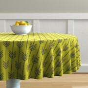 Round Tablecloth Arrow Chartreuse Line Grey Cotton Sateen