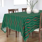 Tablecloth Christmas Mid Century Modern Red And Green Retro Winter Cotton Sateen