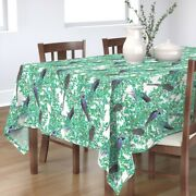 Tablecloth Vintage Birds And Berries Botanical Bird Trees Blue Cotton Sateen