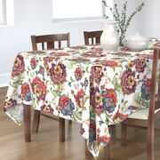 Tablecloth Floral Vintage Colorful Modern Red Blue White Cotton Sateen