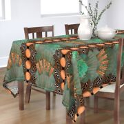 Tablecloth Beer Art Deco Hops Bottle Caps Teal Copper And Barley Cotton Sateen