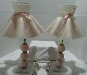Vintage Dresser Lamps W/shades Marble Base Pink Ball Design Set Of Two