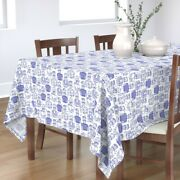 Tablecloth Tattoos Sailor Blue White Doodle Navy Vintage Classic Cotton Sateen