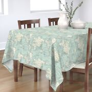 Tablecloth Maps World Globe Blue Cream Vintage And White Cheater Cotton Sateen