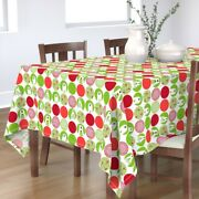 Tablecloth Polar Bear Polka Dots Modern Christmas Mid Century Cotton Sateen