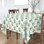 Tablecloth Country Cow Gingham Blue Vintage Cows Flowers Floral Cotton Sateen