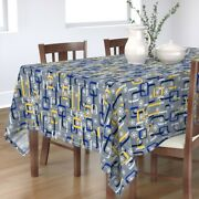 Tablecloth Mid Century Christmas Holiday Retro Vintage Blue Yellow Cotton Sateen