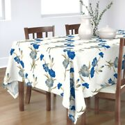 Tablecloth Floral Look Blue Carnations Shaded Vintage Embroidery Cotton Sateen