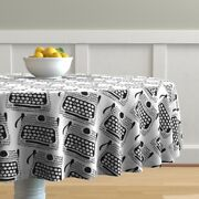 Round Tablecloth Typewriters Black And White Typing Books Cotton Sateen
