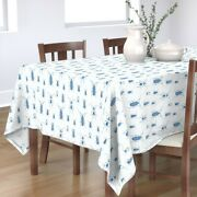 Tablecloth Blue Beetle Toile Summer Bugs Animals Vintage White Cotton Sateen