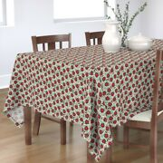 Tablecloth Poinsettia Holiday Floral Winter Christmas Vintage Cotton Sateen