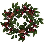 50xartificial Foam Berry Wreath With Natural Pine Cone Pendant Wall Decor