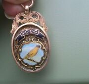 Vintage 9ct Gold And Enamel Canary Club Fob Medal H/m Chester 1930 Not Engraved