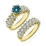 1.25 Carat Real Blue Diamond Cluster Solitaire Wedding Ring Band 14k Yellow Gold