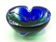 Vintage Murano Style Sommerso Swirl Blue Green Glass Ashtray Bowl 4 Lbs