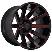 6x5.31/5.5 4 Wheels 24 Inch Rims Fuel 1pc D643 Contra 24x12-44mm Black Red Tint