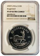 2020 South Africa 1oz Fine Silver Krugerrand Proof Ngc Pf69 Ultra Cameo Ucam