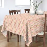 Tablecloth Holiday Festive Blush Pink Christmas Winter Trees Cotton Sateen