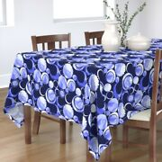 Tablecloth Solar Eclipse Watercolor Moon Sun Blue Stars Night Sky Cotton Sateen