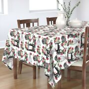 Tablecloth Vintage Machines Roses Machine Black And White Cotton Sateen