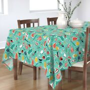 Tablecloth Backyard Bbq Cookout Grill Meat Corn Tomato Summer Food Cotton Sateen