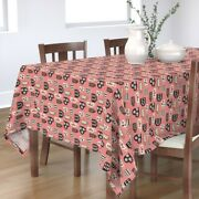 Tablecloth Retro Coffee Cups Kitsch Kitchen Mug Dishes Cotton Sateen