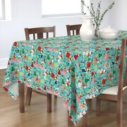 Tablecloth Pinup Holiday 1950s Vintage Christmas Festive Cotton Sateen