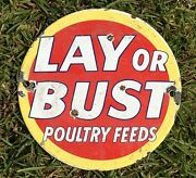 Vintage Lay Or Bust Poultry Feeds Porcelain Metal Chicken Farm 6 In Decor Sign