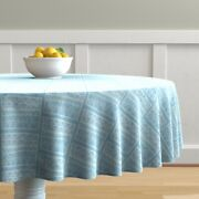 Round Tablecloth Ice Blue Pale Blue Chalk Hand Drawn Primitive Cotton Sateen
