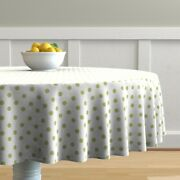 Round Tablecloth Half Inch Polka Dot Green White Cottage House Cotton Sateen