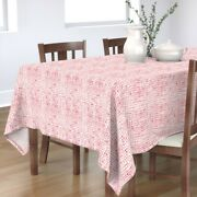 Tablecloth Geometric Red V Watercolor Chevron Paint Handdrawn Cotton Sateen