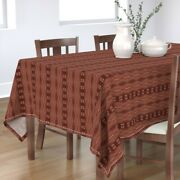 Tablecloth Boho Stripe Rust Red Vintage Inspired Dot Abstract Cotton Sateen
