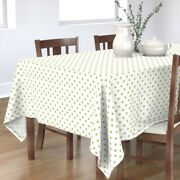 Tablecloth Half Inch Polka Dot Green White Cottage House Cotton Sateen