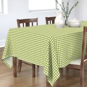Tablecloth Green White Gingham Cottage House Shabby Chic Farmhouse Cotton Sateen