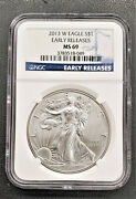 2013 W American 1 Oz 999 Silver Eagle Early Releases Ngc Ms 69 Se13