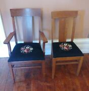 Pair Of 2 Antique Needlepoint Floral Wooden Chairs